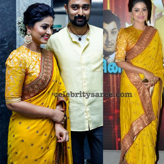 Sneha in Yellow Crepe Saree