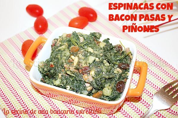 Receta de espinacas con bacon pasas y piñones