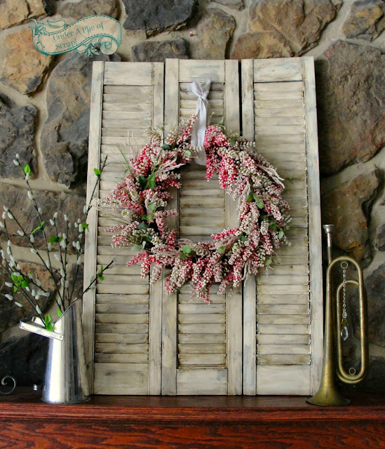 room decor, home decor, spring, summer, wreath, mantel decor, farmhouse styles, rustic, country, primitive, painted furniture, idea, diy, distressed