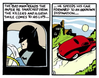 Detective Comics (1937) #27 Page 3 Panels 9 & 10: Batman speeds off in his red sedan.