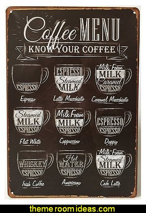Coffee Menu Express Cafe Latte Retro Vintage Tin Sign