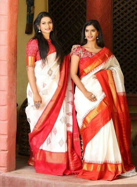 Off White Orange Silk Sarees
