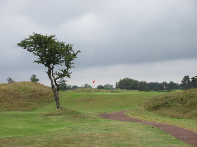 An example of an elevated green on a golf course