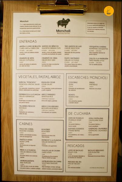 Carta Restaurante Moncholi Madrid Ibiza