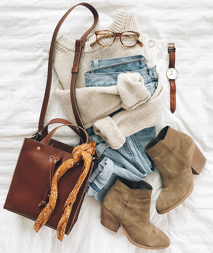 fall outfit suede boots flat lay