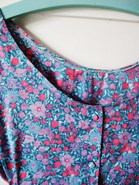 neckline detail of Dottie Angel frock in vintage Laura Ashley textiles by Karen Vallerius