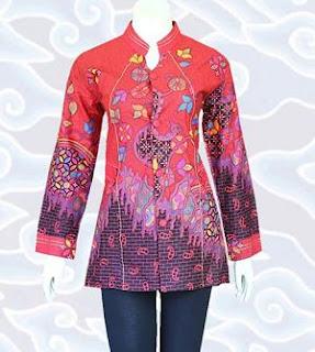 Contoh Model Baju Batik Formal Wanita Modern