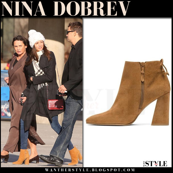 Nina Dobrev in camel suede ankle boots stuart weitzman grandiose what she wore winter style
