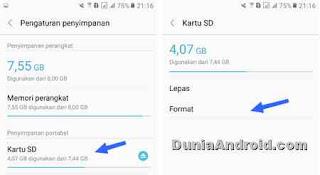 letak menu format di HP Samsung