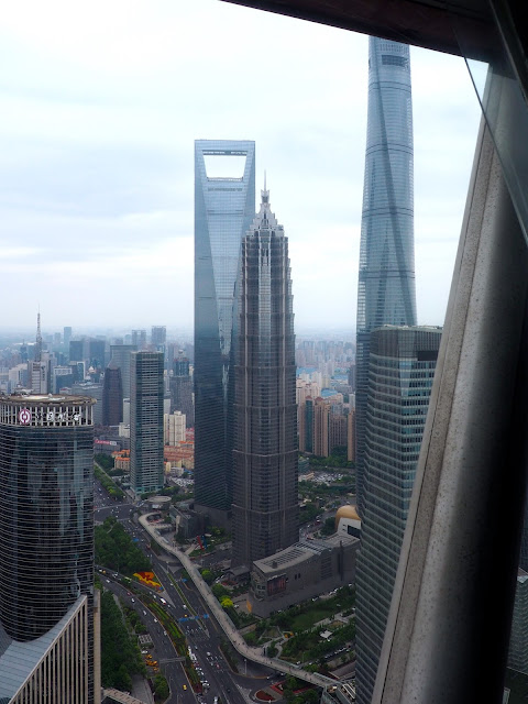 View of Pudong from Oriental Pearl Tower, Shanghai, China