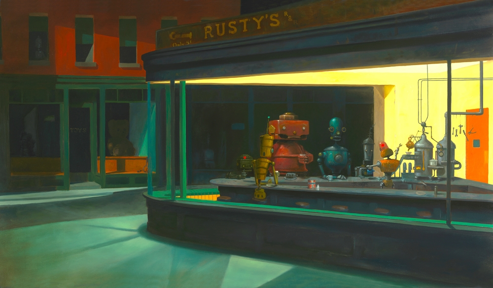 06-Nighthawks-Edward-Hopper-Geoffrey-Gersten-Surreal-and-Retro-Paintings-in-Modern-Times-www-designstack-co