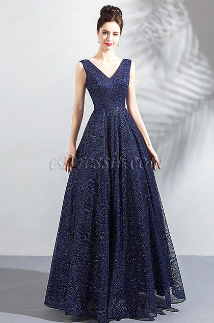 New Sparkle Blue V-Cut Evening Prom Party Dress