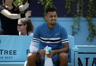 Kyrgios fined for inappropriate behavior at Queen's Club