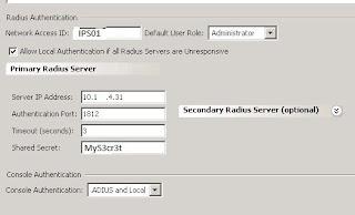 IPS RADIUS settings