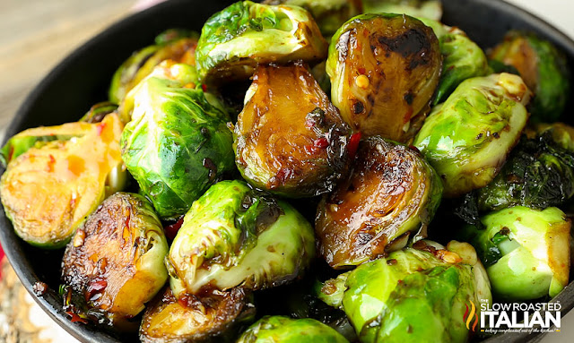 Pan-Fried Brussels Sprouts with Sweet Chili Sauce