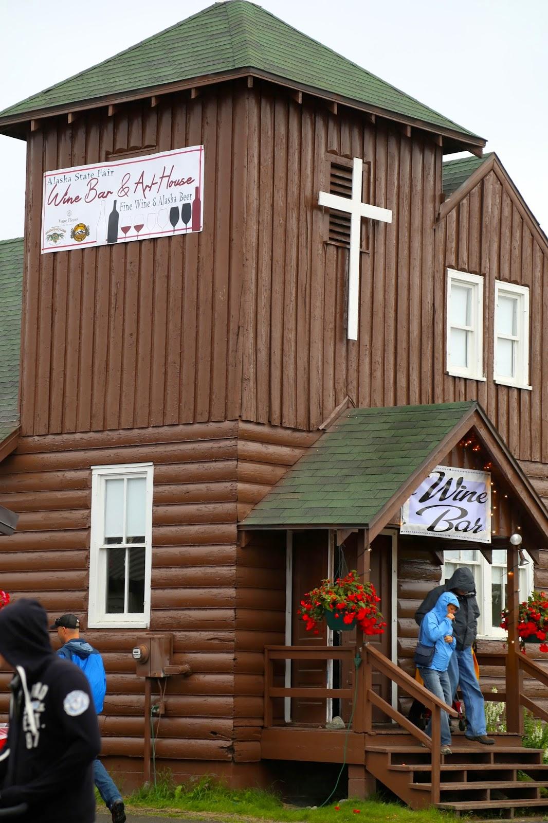 wine bar in a chapel, Alaska State Fair