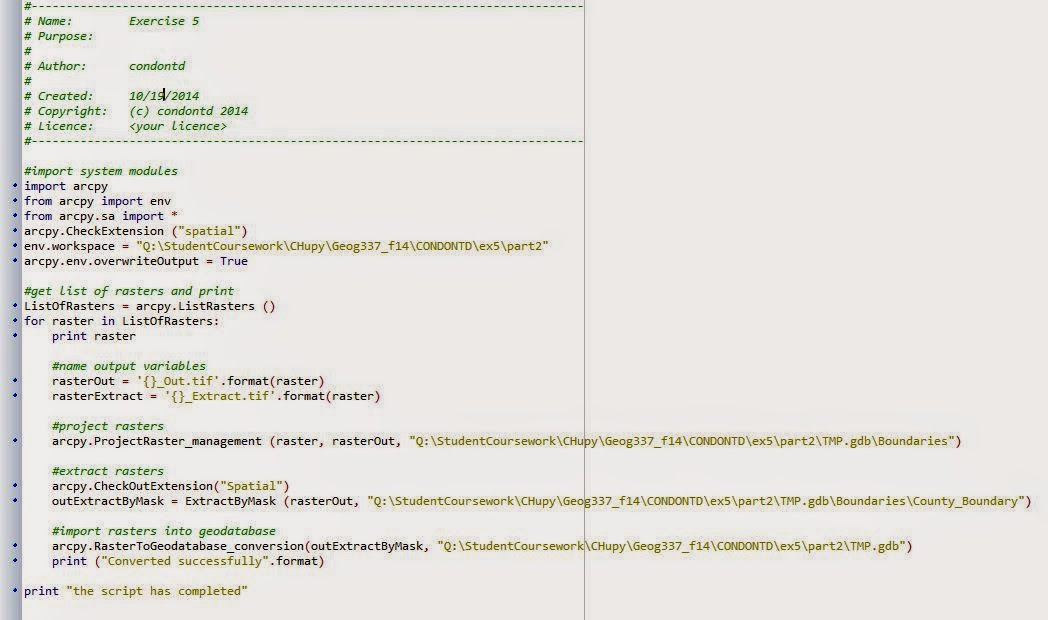 UWEC GIS (Tim Condon): Using Python Script to Run ArcGIS