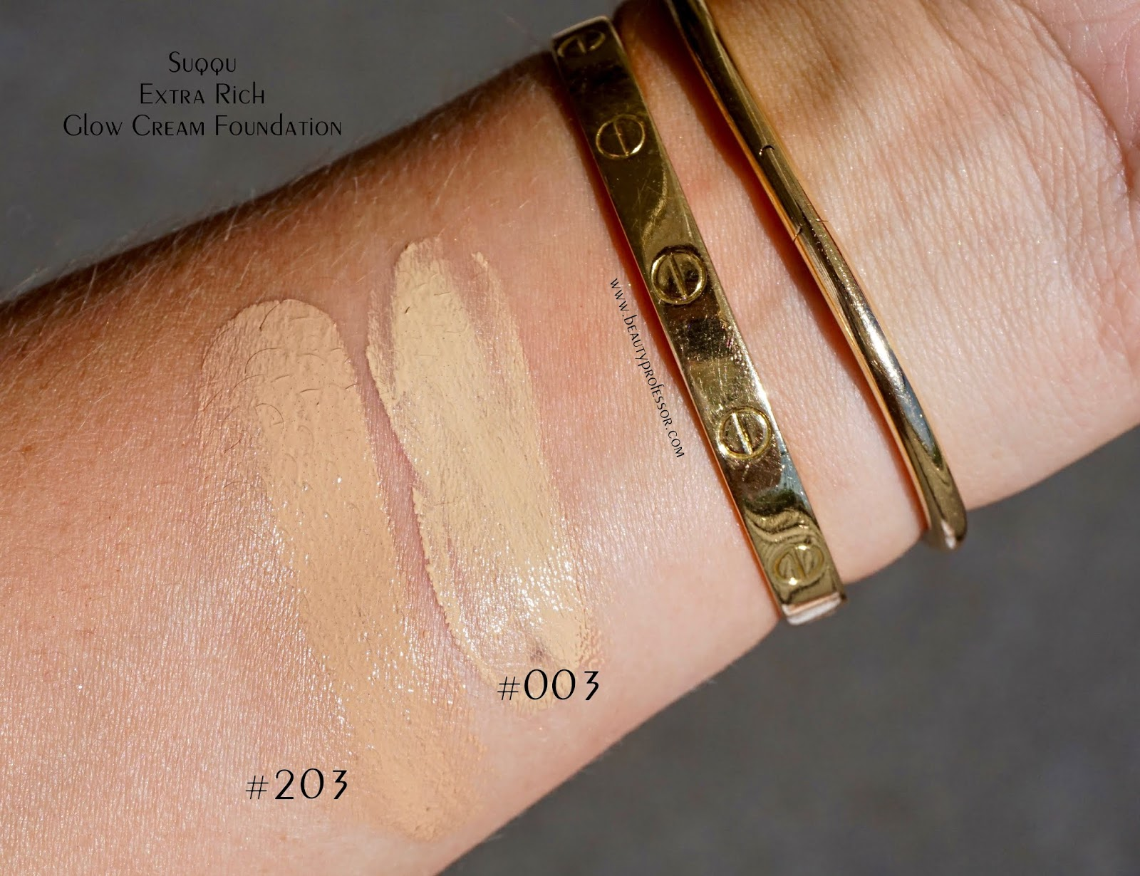 SUQQU Extra Rich Glow Cream Foundation swatches