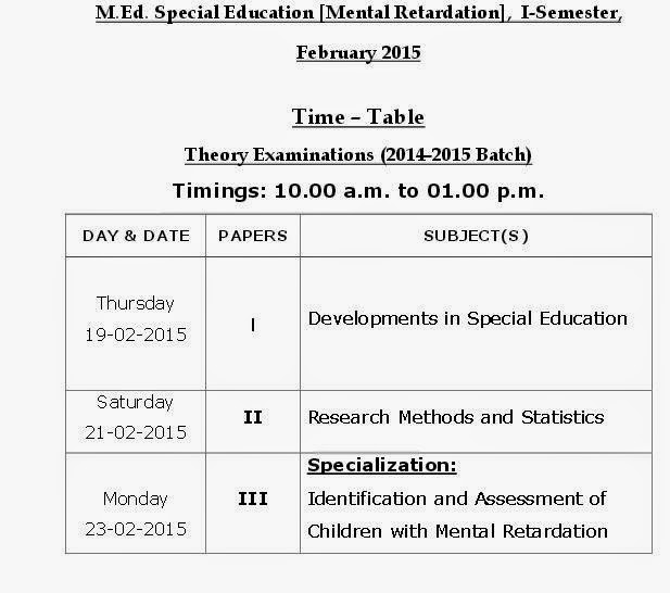 Osmania University M Ed  2015 Timetable