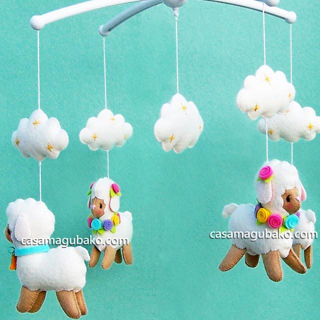 Lamb and Cloud Mobile by casamagubako.com
