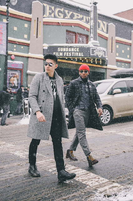 Leo Chan of Levitate Style with Sabir Peele of Men's Style Pro at Sundance Film Festival | Menswear Outfits