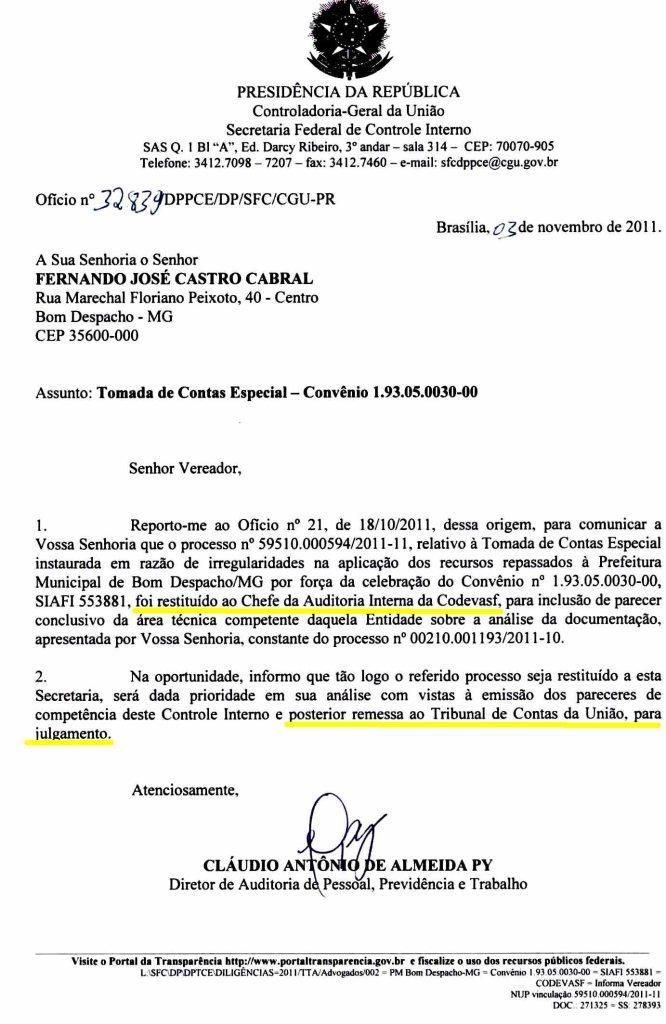 b4530f1bd Fernando Cabral  CGU determina que CODEVASF se aprofunde nas contas ...