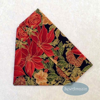 Christmas Dog Bandana, over the collar, red poinsettia, roses