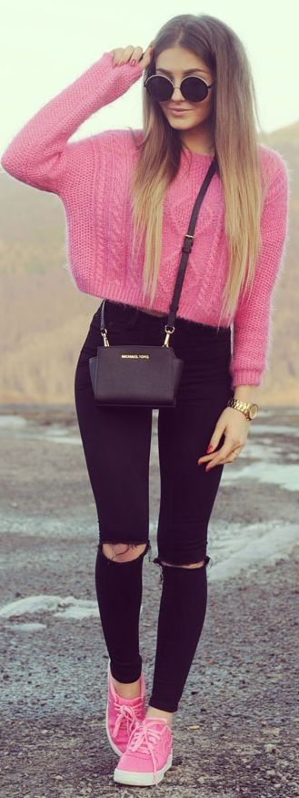 pink and black_crop sweater + bag + rips + sneakers
