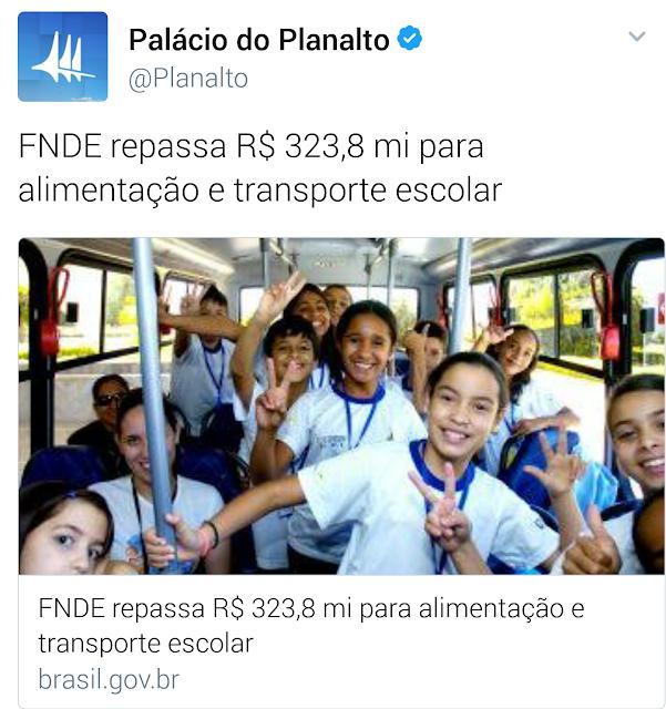 FNDE repassa R$ 323,8 mi para alimentação e transporte escolar