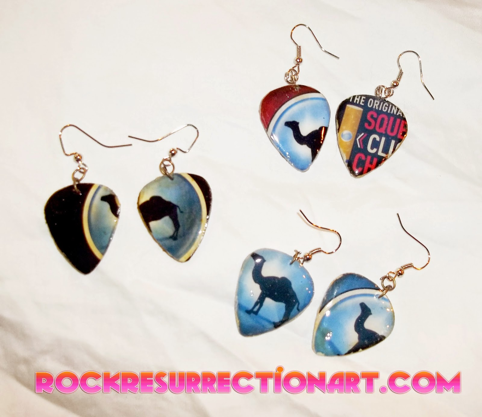 Cigarette Packaging Guitar Pick Earrings