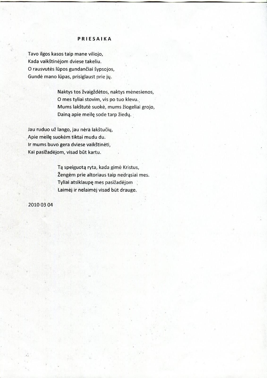 tėvo prarastas dukters eilėraštis