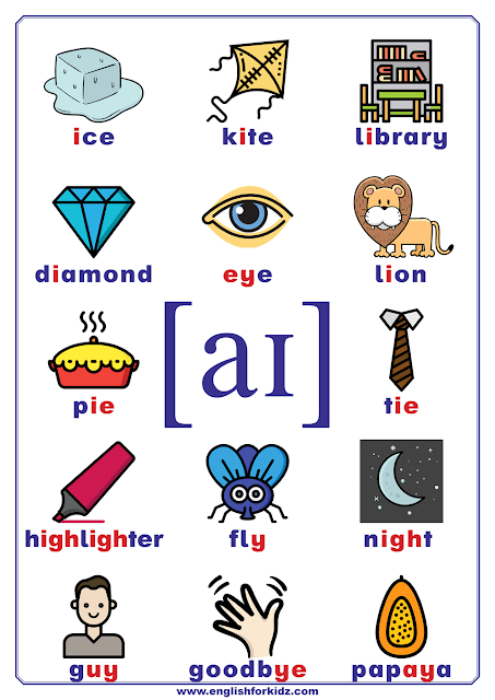 Phonics chart - vowel phoneme aɪ, diphthong sound - words and pictures