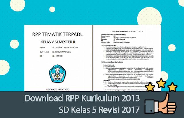 RPP Kurikulum 2013 SD Kelas 5 Revisi 2017
