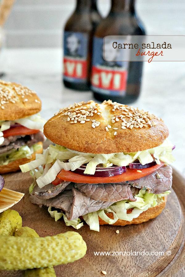 Burger panino con carne salata trentina salume tipico ricetta facile e gustosa - salt-cured beef burger recipe