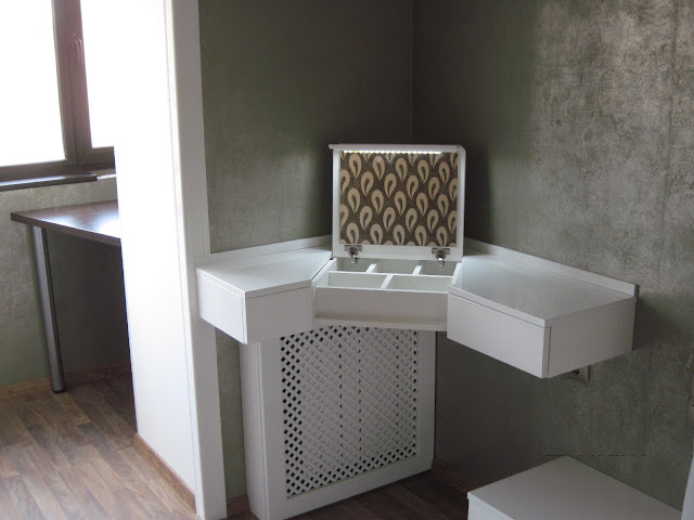 white modern corner dressing table design ideas