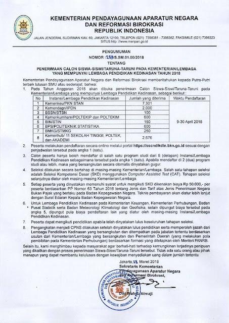Pembukaan Pendaftaran Sekolah Ikatan Dinas Tahun 2018