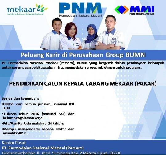 Pembertitahuan Lowongan Permodalan Nasional Madani (Persero), Lowongan kerja hingga 11 Desember 2016