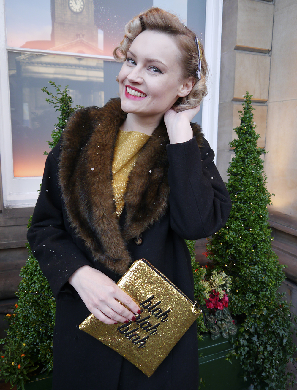 British vintage style blogger, fake snow in Edinburgh, faux fur trimmed Henry Holland coat, gold glitter clutch for christmas party, easy vintage pincurl style with tongs, fashion blogger christmas outfit,