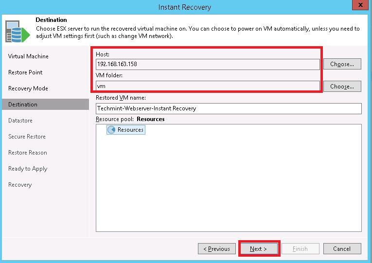 Veeam vSphere instant VM recovery