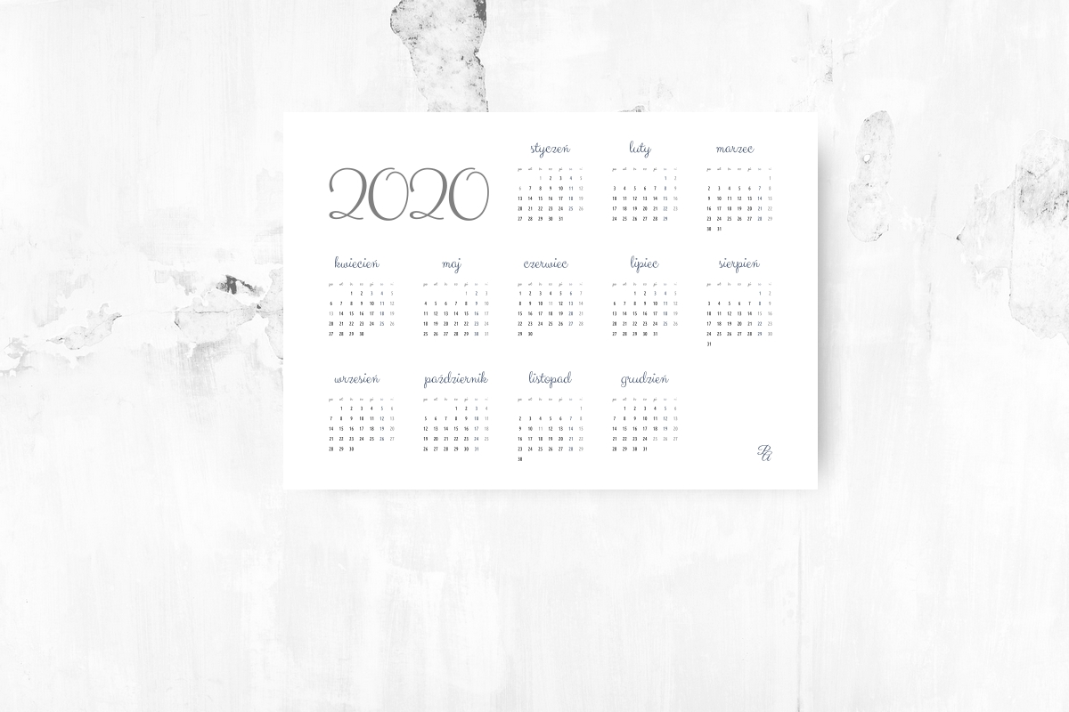 kalendarz do pobrania 2020