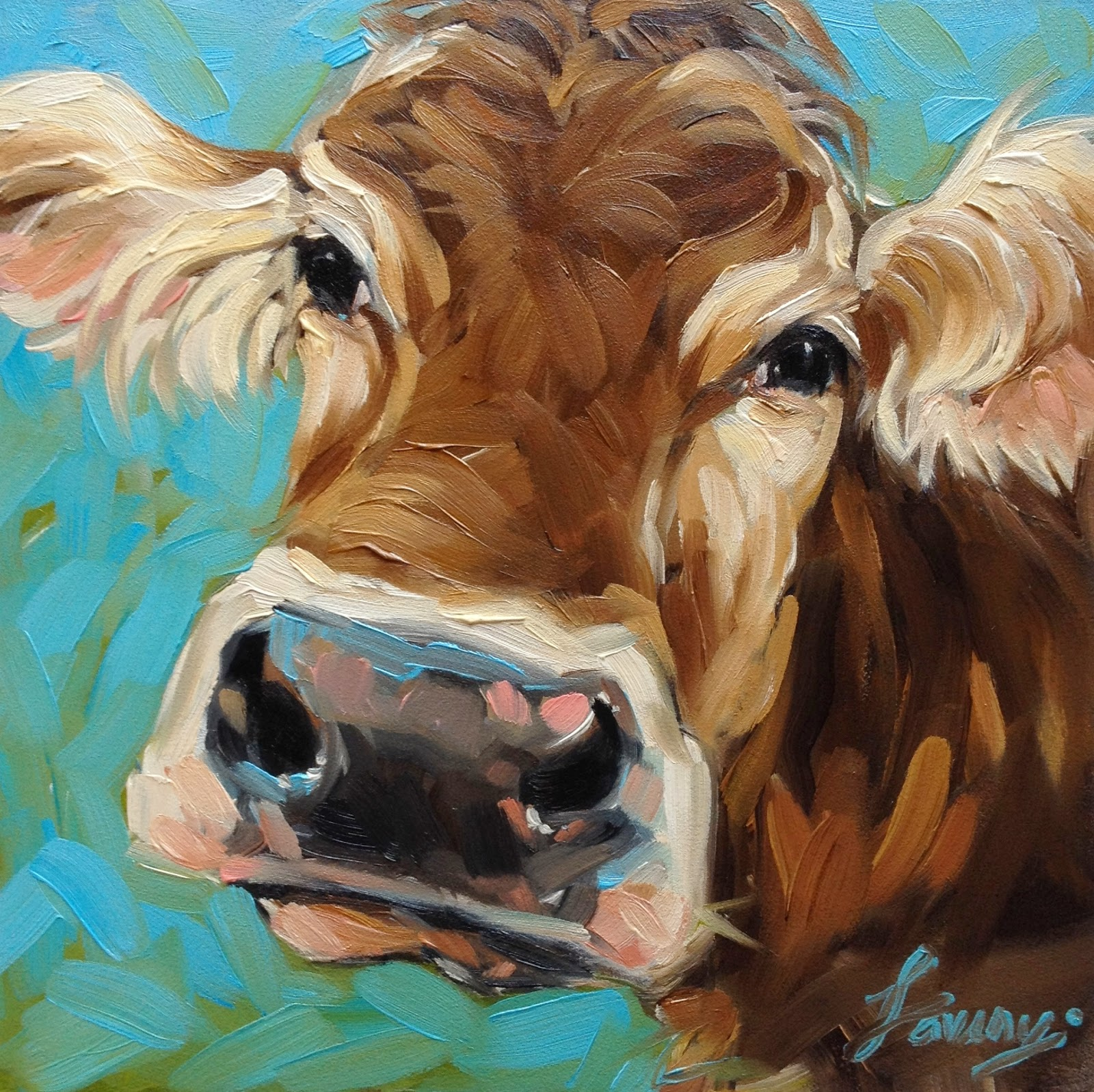 Cow Painting Portrait 6x6 Oil On Panel Available Etsy Shop LaveryART