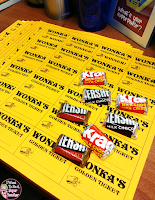 A Golden Ticket Freebie PLUS Ideas for Wonka Week integrating Wonka and candy fun into instruction.  Great for any time you need to mix up your classroom management!