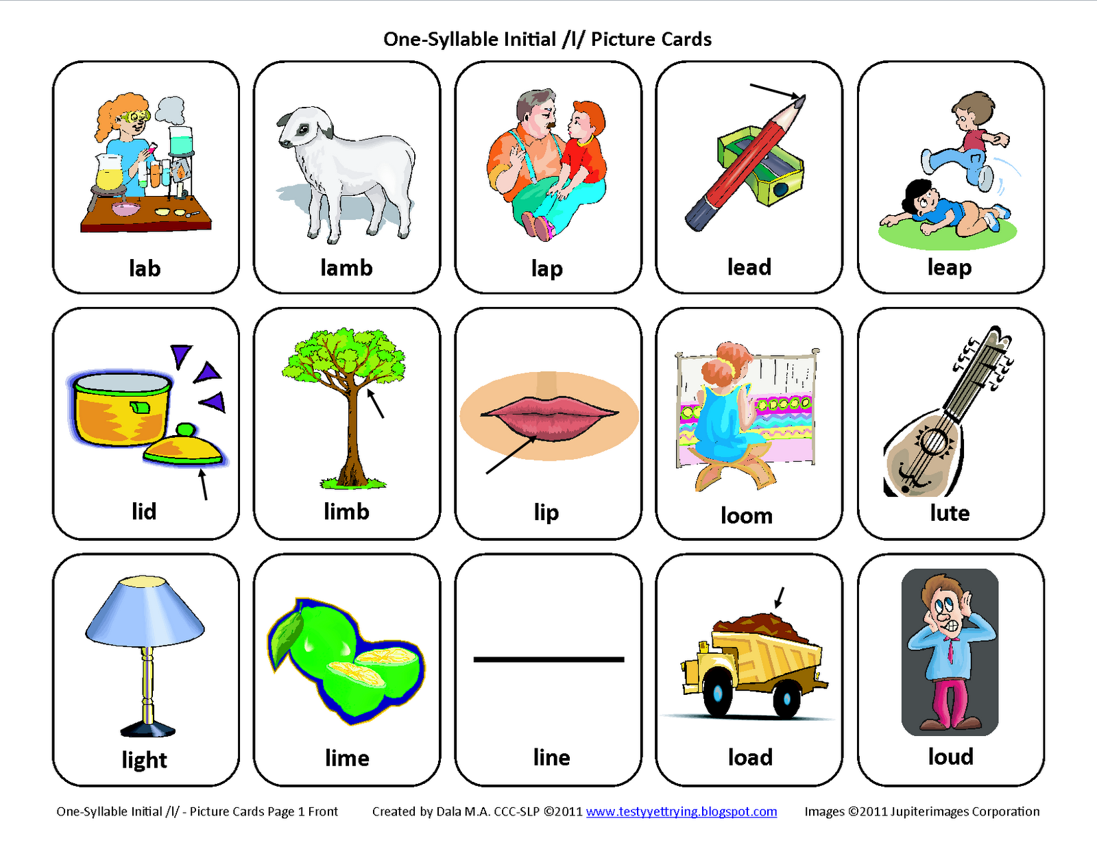 Testy Yet Trying Initial L Free Speech Therapy Articulation Picture Cards
