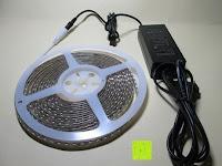 zusammenbauen: LIHAO 5M LED Strip Warmweiß 600 SMDs Band wasserdicht Streifen mit Hohlbuchse+Netzteil DC 12V Trafo Set [Energieklasse A]