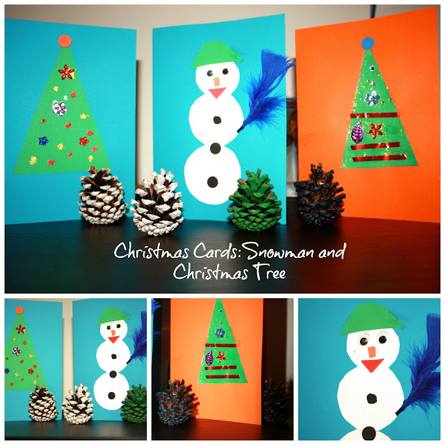 Christmas Cards Craft: Snowman and Christmas Tree