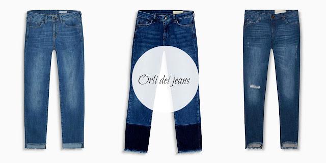 jeans con orli particolari frange