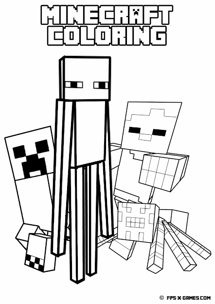 Printable Minecraft Coloring  Mob
