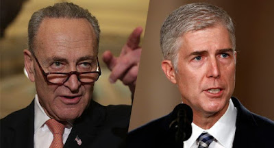 Senate Minority Leader Chuck Schumer and Judge Neil Gorsuch. (Photos: Alex Wong/Getty Images, Carolyn Kaster/