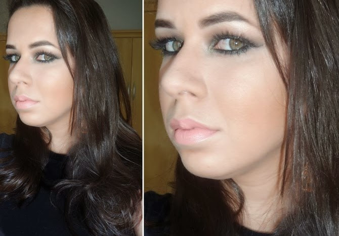 Maquiagem verde esmeralda com glitter