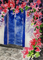 Water colour study work of a door and bougainvillea flowers from Santorini, Greece. By Manju Panchal